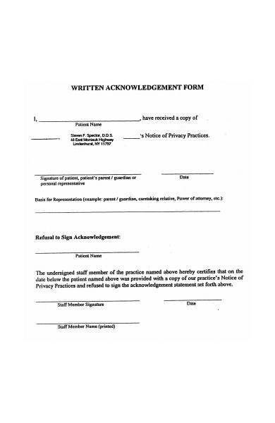 written acknowledgement form