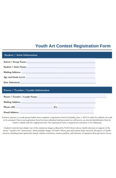 youth art contest registration form
