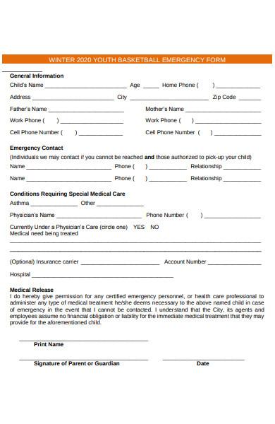 youth basketball emergency form