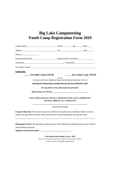 youth camp registration form template