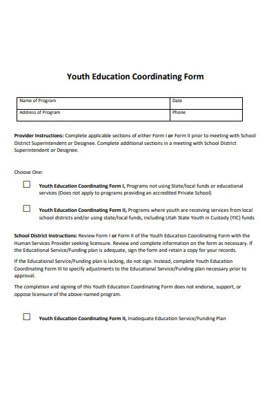 youth educational coordinating form