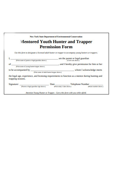 youth hunter permission form
