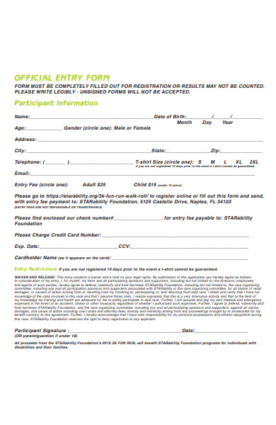 3k race registration form