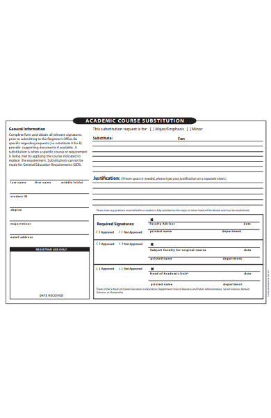 academic course substitution form