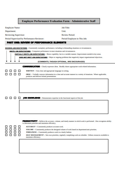 administrative staff performance evaluation form