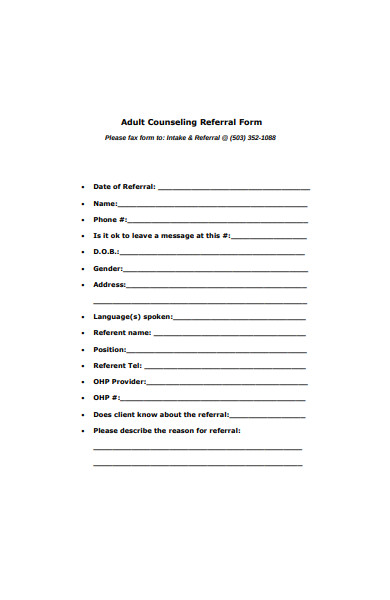 adult counseling referral form