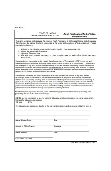 adult publication audio and video release form