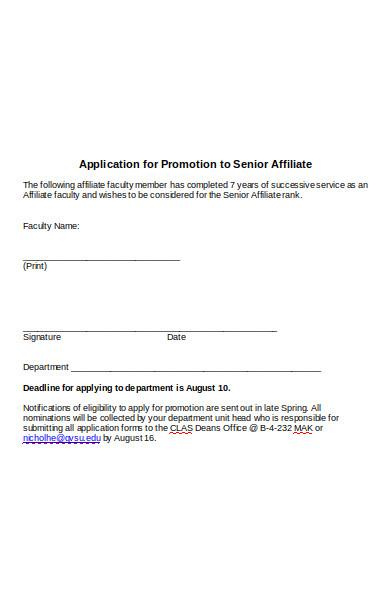 affiliate promotion form