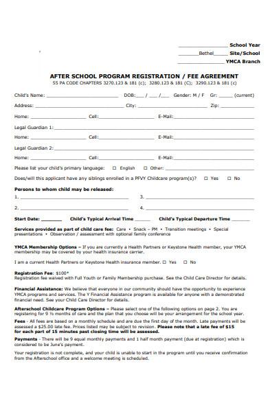 after school childcare registration form