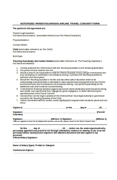 air line travel consent form