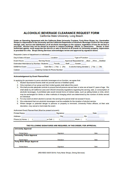alcohol beverage clearance order request form