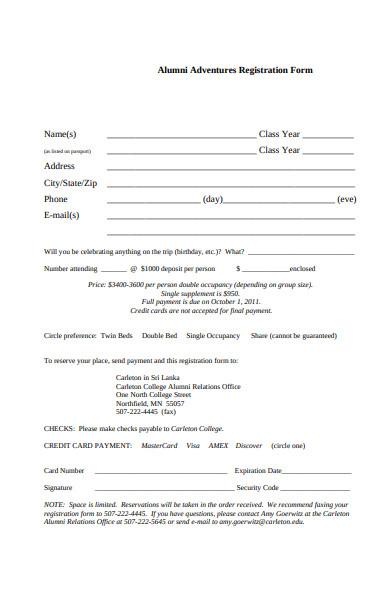 alumni adventures registration form