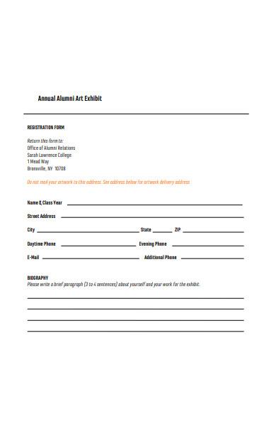 alumni art exhibit registration form