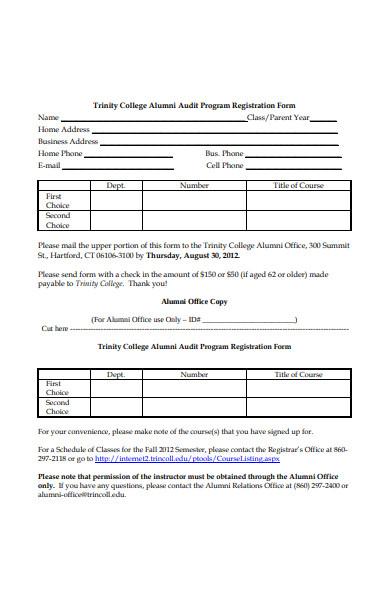alumni audit registration form