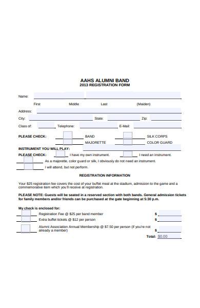 alumni band registration form