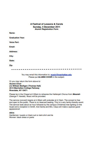 alumni choir registration form