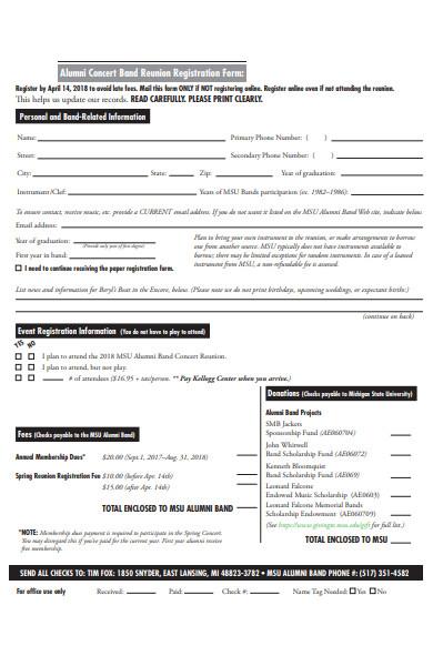 alumni concert band registration form