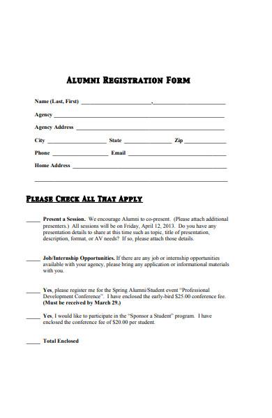 alumni conference registration form