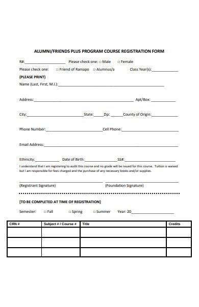 alumni course registration form