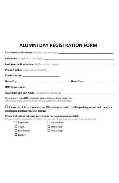 alumni day registration form