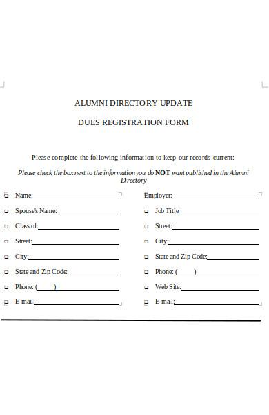 alumni dues registration form