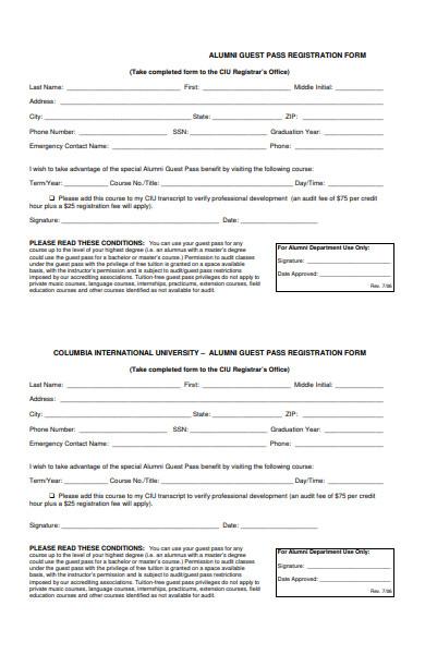 alumni guest pass registration form