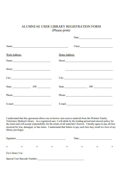 alumni library registration form