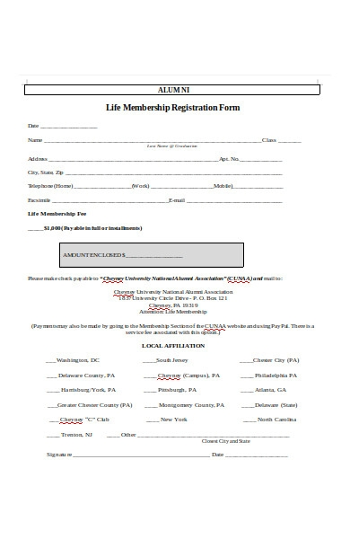 alumni life membership registration form