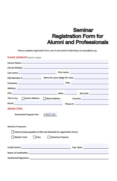 alumni seminar registration form