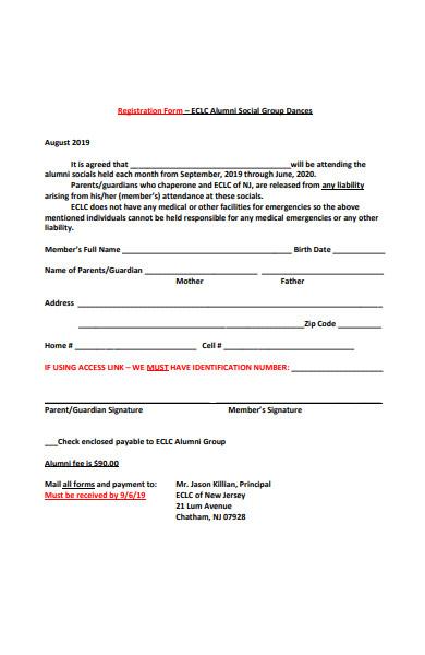 alumni social group registration form