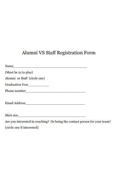 alumni staff registration form