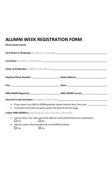 alumni week registration form