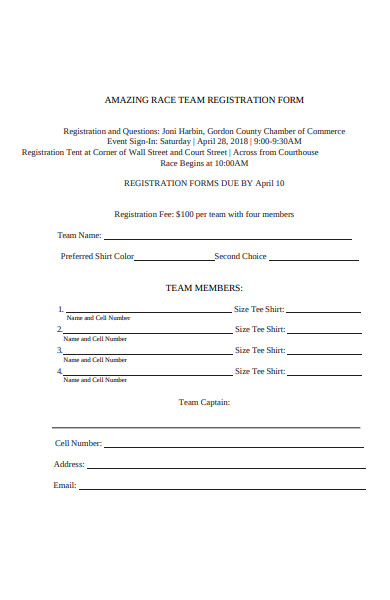 amazing race registration form