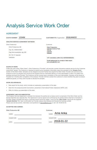 analysis work order form