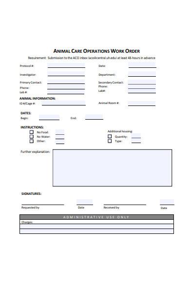 animal care work order form