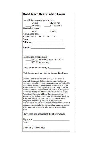 animals road race registration form