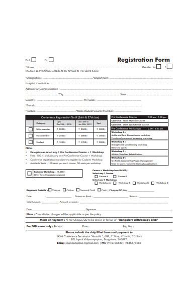 annual conference workshop registration form