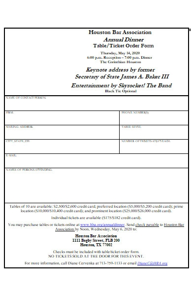annual dinner ticket order form