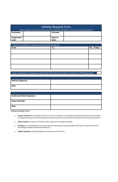 annual holiday request form
