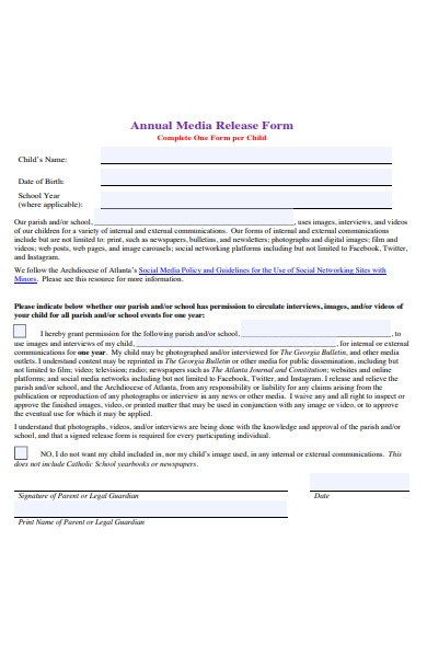 annual media release form
