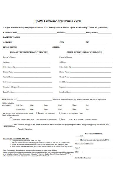 apollo childcare registration form