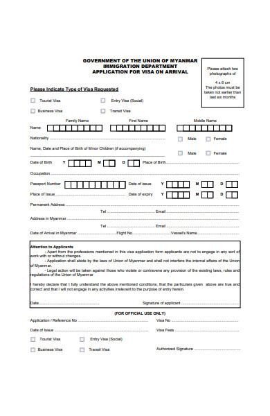 application form for visa on arrival in pdf