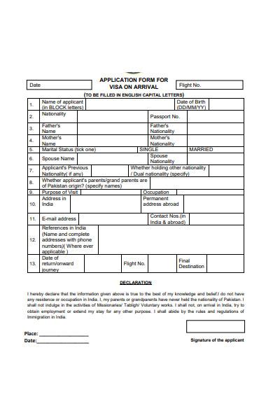 application form for visa on arrival