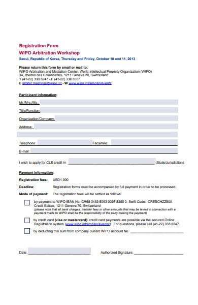 arbitration workshop registration form