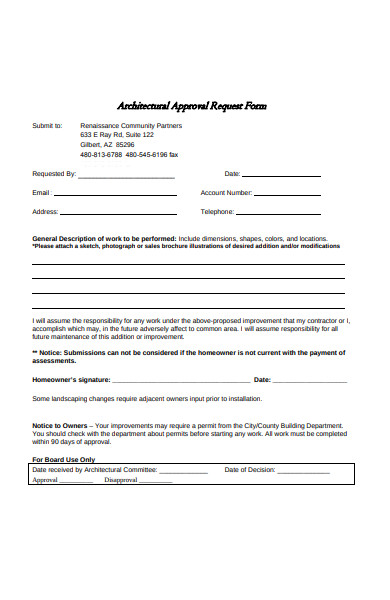 architectural approval request form