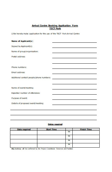 arrival center booking application form