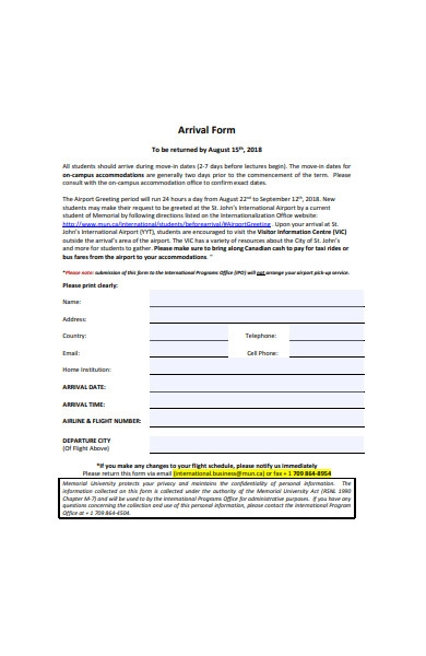 arrival form template