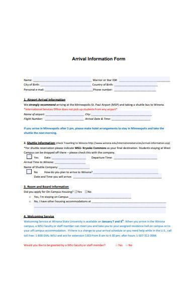 arrival information form