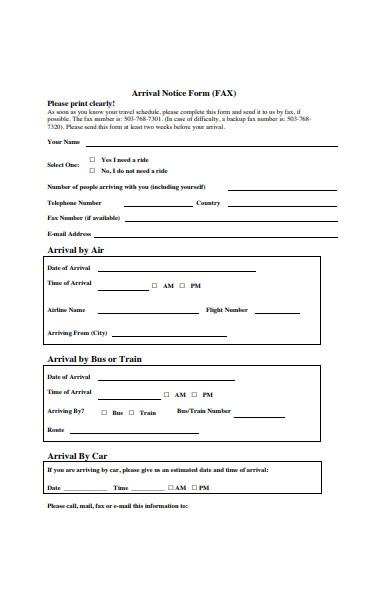 arrival notice form template