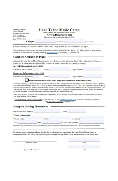 arrival and departure form template